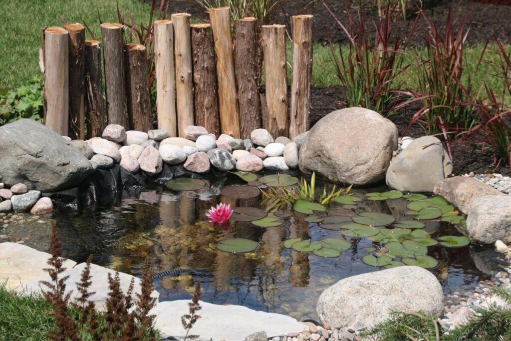 Logs in pond